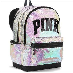 VS pink iridescent sequin campus backpack
